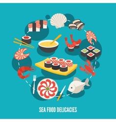 Sea food delicacies vector image vector image