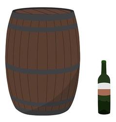 Wine barrel and bottle vector image