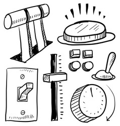 doodle lever button switch vector image vector image