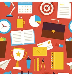 Flat Seamless Pattern Business and Office Objects vector image