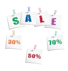 Sale tags with push pin vector image