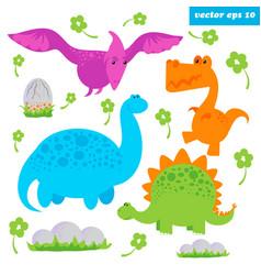 dinosaurus set vector image vector image