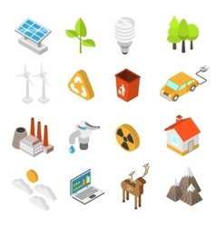 Ecology And Environment Protection Icon Set vector image