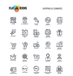 flat line icons design - shopping and e commerce vector image vector image