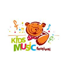 kids music festival logo vector image