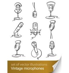 vintage microphones vector image vector image