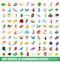 100 travel landmarks icons set isometric 3d style vector