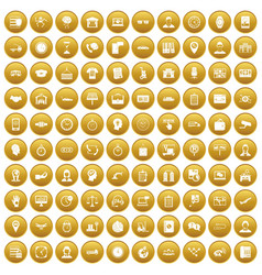 100 working hours icons set gold vector