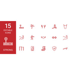 15 strong icons vector image