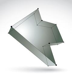 3d mesh trendy silver backward arrow isolated on vector