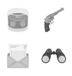 A glass of whiskey a gun binoculars a letter in vector