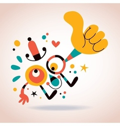 Abstract character thumb up vector