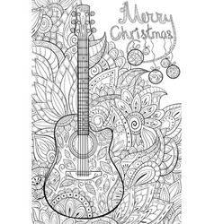 adult coloring bookpage a cute guitar on the vector image
