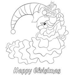 adult coloring bookpage a santa moon image vector image