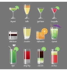 Alcoholic cocktails Margarita vector