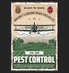 Biplane crop duster pesticides and pest control vector