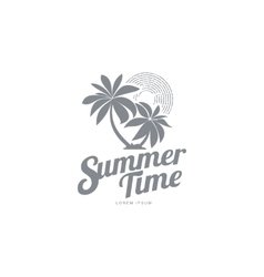 Black and white logo template with two palm trees vector