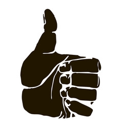 black silhouette thumbs up icon graphic vector image