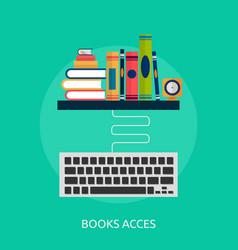 Books and keyboard conceptual design vector