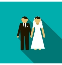 Bride and groom icon flat style vector image