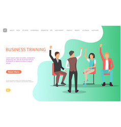 Business training man asking audience questions vector