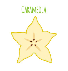 carambola star fruit cartoon flat style vector image