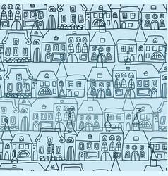 cartoon doodles hand drawn town seamless vector image