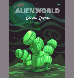 cartoon fantasy green plant alien planet nature vector image