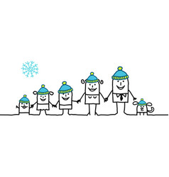 Cartoon winter family vector