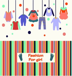 children clothes collection for girl vector image