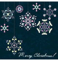 Christmas dark background with snowflakes vector image