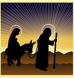 Christmas nativity mary and joseph vector