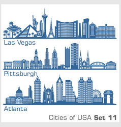 Cities usa - las vegas pittsburgh atlanta vector