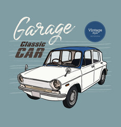 classic car vintage style hand draw sketch vector image