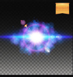 Colorful blue explosive lighting effect with halo vector