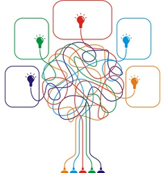 Concept of colorful tree with bulbs vector image
