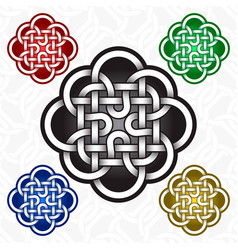 Cruciform flower logo template in celtic knots vector
