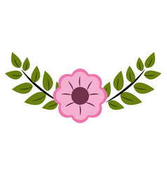 Cute flower branch decoration vector