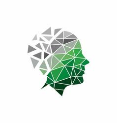 Digital head logo design vector