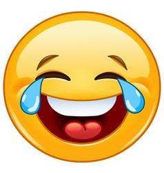Emoticon with tears joy vector