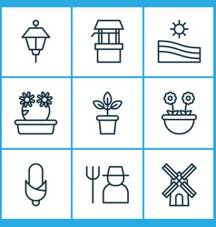Farm icons set includes icons such as lantern vector