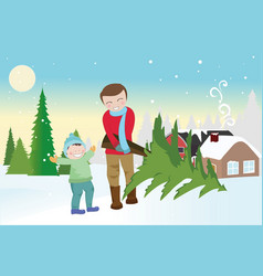 Father and son carrying a christmas tree vector