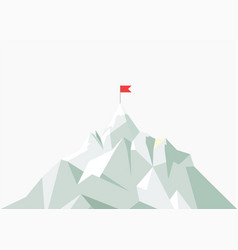 Flat flag on mountain low poly design vector