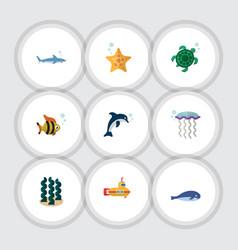 Flat icon marine set alga medusa sea star and vector