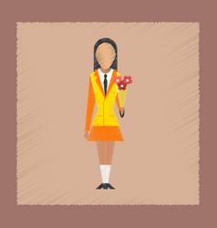 Flat shading style icon schoolgirl flowers vector