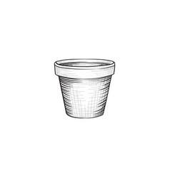 Flower pot engraving garden flowerpot over white vector