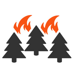Forest fire disaster flat icon vector