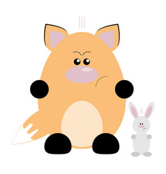 fox and rabbit angry vector image