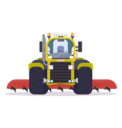 Front view of cultivator tractor vector