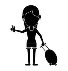 Girl tourist passport and baggage pictogram vector